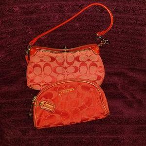 Coach large turnlock wristlet & makeup bag